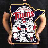 """Minnesota Twins 24"""" Minnie & Paul Lasercut Steel Logo Sign"""