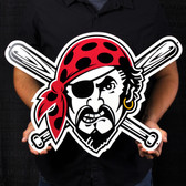 "Pittsburgh Pirates 23"" Pirate Head Lasercut Steel Logo Sign"