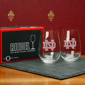 Notre Dame Fighting Irish Interlocking ND  Set of 2 Riedel 13 OZ Stemless Red Wine Glasses