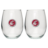 Washington State Cougars Stemless Wine Glass (Set of 2)