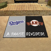 """Los Angeles Dodgers - San Francisco Giants House Divided Rugs 33.75""""x42.5"""""""