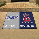 """Los Angeles Dodgers - Anaheim Angels House Divided Rugs 33.75""""x42.5"""""""