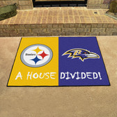 "Pittsburgh Steelers - Baltimore Ravens House Divided Rugs 33.75""x42.5"""