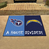 """San Diego Chargers - Tennessee Titans House Divided Rugs 33.75""""x42.5"""""""