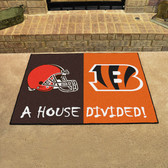 """Cincinnati Bengals - Cleveland Browns House Divided Rugs 33.75""""x42.5"""""""