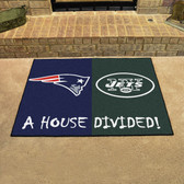 """New England Patriots - New York Jets House Divided Rugs 33.75""""x42.5"""""""