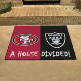 """San Francisco 49ers - Oakland Raiders House Divided Rugs 33.75""""x42.5"""""""