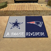 """Dallas Cowboys - New England Patriots House Divided Rugs 33.75""""x42.5"""""""