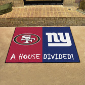 """NFL -San Francisco 49ers - New York Giants House Divided Rugs 33.75""""x42.5"""""""
