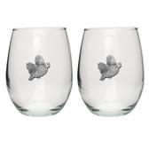 Bobwhite Quail Stemless Wine Glass (Set of 2)