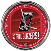 Portland Trail Blazers Go Team! Chrome Clock
