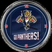 Florida Panthers Go Team! Chrome Clock