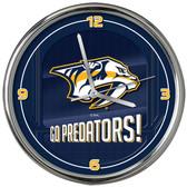 Nashville Predators Go Team! Chrome Clock