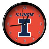 Illinois Fighting Illini Black Rim Clock - Basic