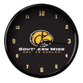 Southern Miss Golden Eagles Black Rim Clock - Basic