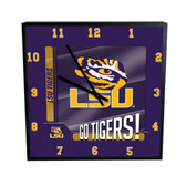 LSU Tigers Go Team! 12in Square Clock