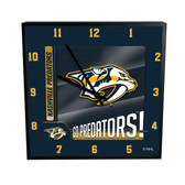 Nashville Predators Go Team! 12in Square Clock