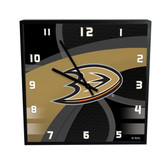 Anaheim Ducks Carbon Fiber 12in Square Clock