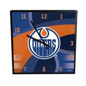 Edmonton Oilers Carbon Fiber 12in Square Clock