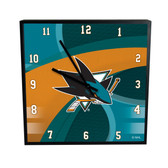 San Jose Sharks Carbon Fiber 12in Square Clock