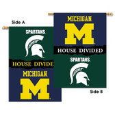 """Michigan - Michigan State 2-Sided 28"""" X 40"""" Banner W/ Pole Sleeve House Divided"""