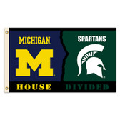 Michigan - Michigan State Spartans 3 Ft. X 5 Ft. Flag W/Grommets - Rivalry House Divided