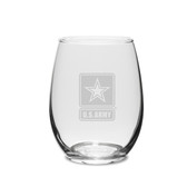 US Army Deep Etched 11.5 oz. Stemless White Wine Glass