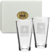 US Army Deep Etched Classic Pub Glass Set of 2