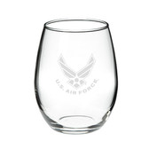 Us Air Force Deep Etched  15 oz Stemless Red Wine Glass