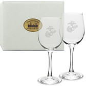 US Marines Deep Etched White Wine Glass Set of 2