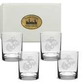US Marines Deep Etched Double Old Fashion Glass Set of 4