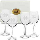 Notre Dame Fighting Irish Deep Etched White Wine Glass Set of 4