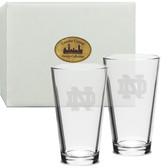 Notre Dame Fighting Irish Deep Etched Classic Pub Glass Set of 2