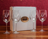 Columbia University Deep Etched White Wine Glass Set of 4
