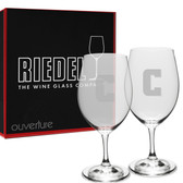 Columbia University Deep Etched Riedel Set of 2 Wine Glasses