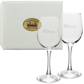 Penn Quakers Deep Etched White Wine Glass Set of 2