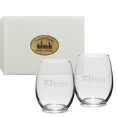 Penn Quakers Deep Etched Stemless Wine Glass Set of 2