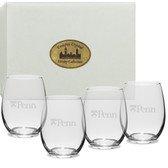 Penn Quakers Deep Etched Stemless Wine Glass Set of 4
