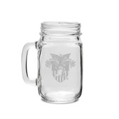 West Point 16 oz. Deep Etched Old Fashion Drinking Jar with Handle