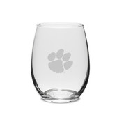 Clemson Tigers 11.5 oz. Deep Etched Stemless Deep Etched White WINE GLASS
