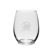 Maryland Terrapins 11.5 oz. Deep Etched Stemless Deep Etched White WINE GLASS