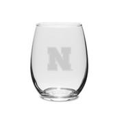 Nebraska Cornhuskers 11.5 oz. Deep Etched Stemless Deep Etched White WINE GLASS