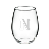 Northeastern Huskies 15.0 oz. Deep Etched Stemless Deep Etched Red Wine Glass