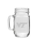 Virginia Tech Hokies 16 oz Deep Etched Old Fashion Drinking Jar with Handle