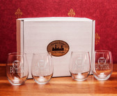 Butler Bulldogs Deep Etched Stemless Wine Glass Set of 4
