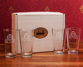 Butler Bulldogs Deep Etched Classic Pub Glass Set of 4