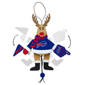 Buffalo Bills Ornament - Cheering Reindeer - Wood