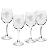 Seton Hall Deep Etched 12 oz. White Wine Glass Set of 4
