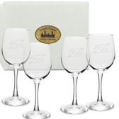 Akron Zips Deep Etched 12 oz. White Wine Glass Set of 4