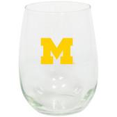 Michigan Wolverines 15oz Decorated Stemless Wine Glass